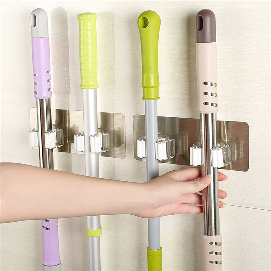 Wall Mounted Mop Organizer Holder Brush Broom Hanger Storage Rack Kitchen Tool Wall Housekeeper Accessory Hanging Pipe Hooks
