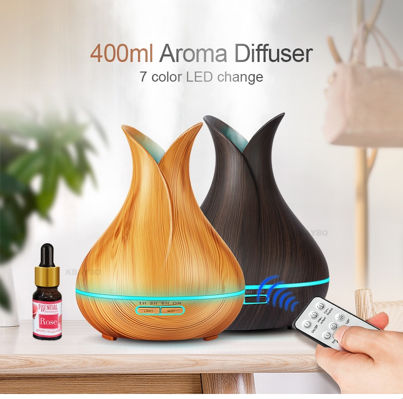 400 ml Ultrasonic Air Humidifier Aroma Essential Oil  Diffuser with Wood Grain 7 Color Changing LED Lights for Office Home