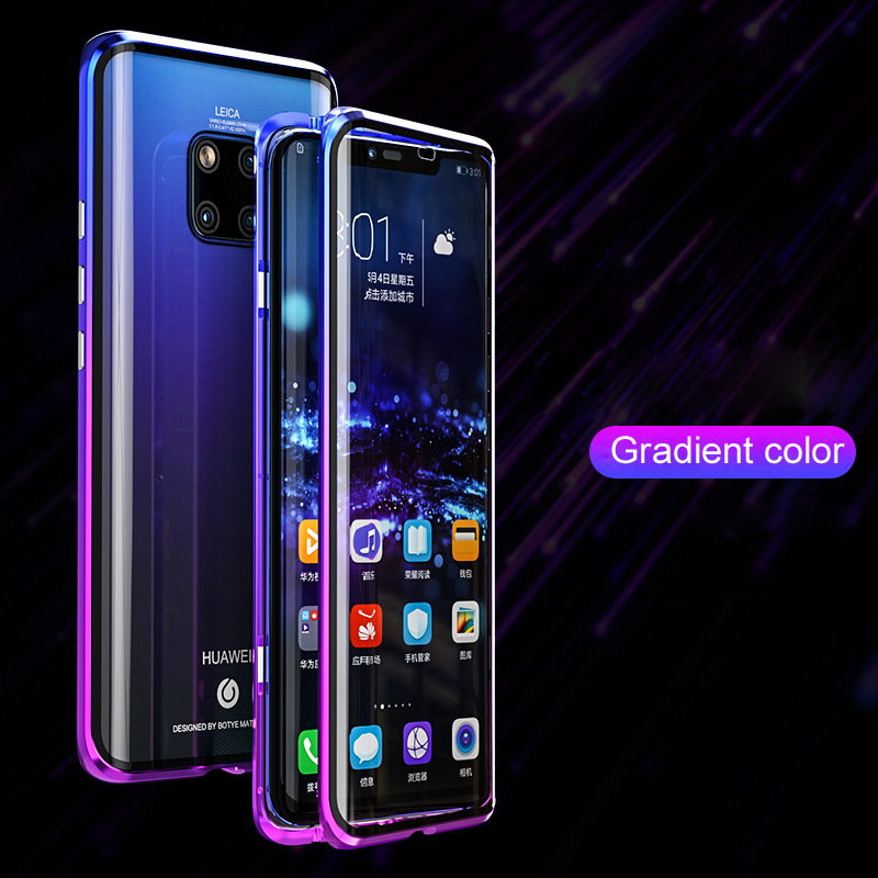 Gradient Metal Magnetic Case For Huawei P30 Pro Mate 20 Pro 360 Full Body Protective Magnets Bumper Double-sided Glass Cover