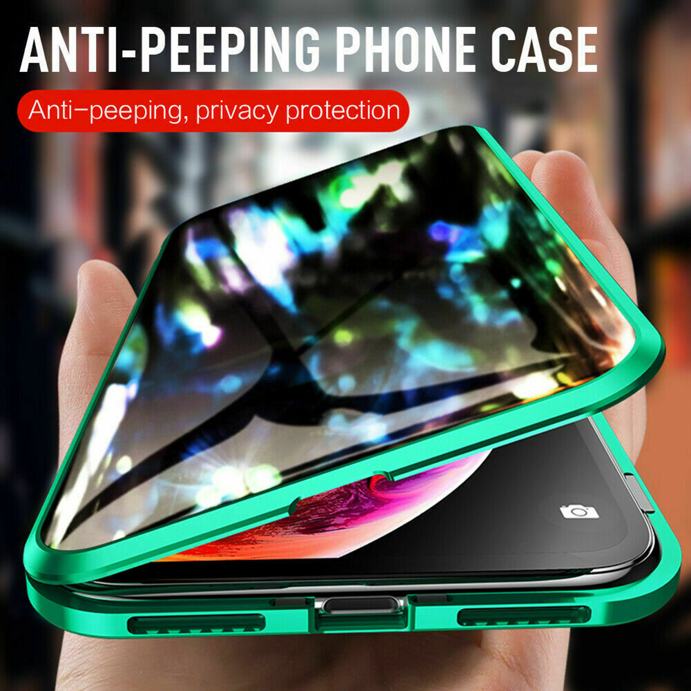 Magnetic Privacy Tempered Glass Magnet Metal Phone Case 360 Full Body Protective Cover For Iphone XS MAX X XR 8 7 Plus